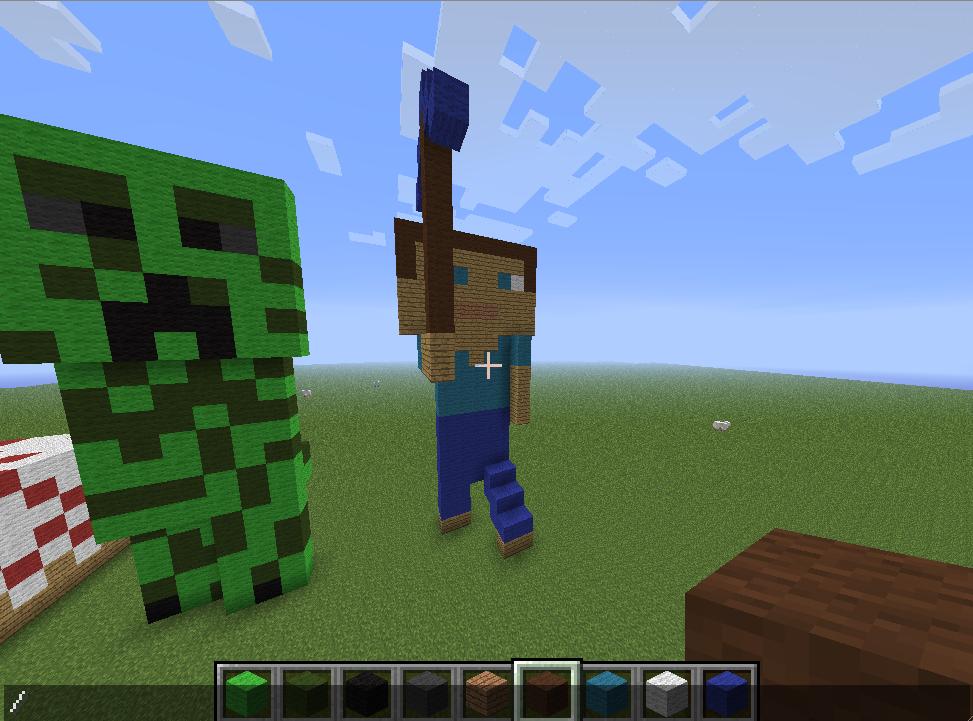 minecraft pixel art steve and the creeper creative mode