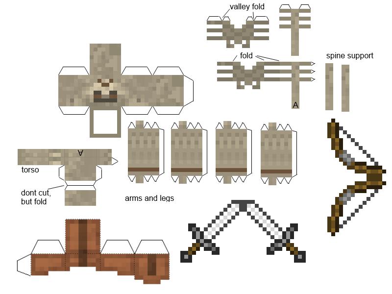 Как сделать скелета из бумаги  схемы