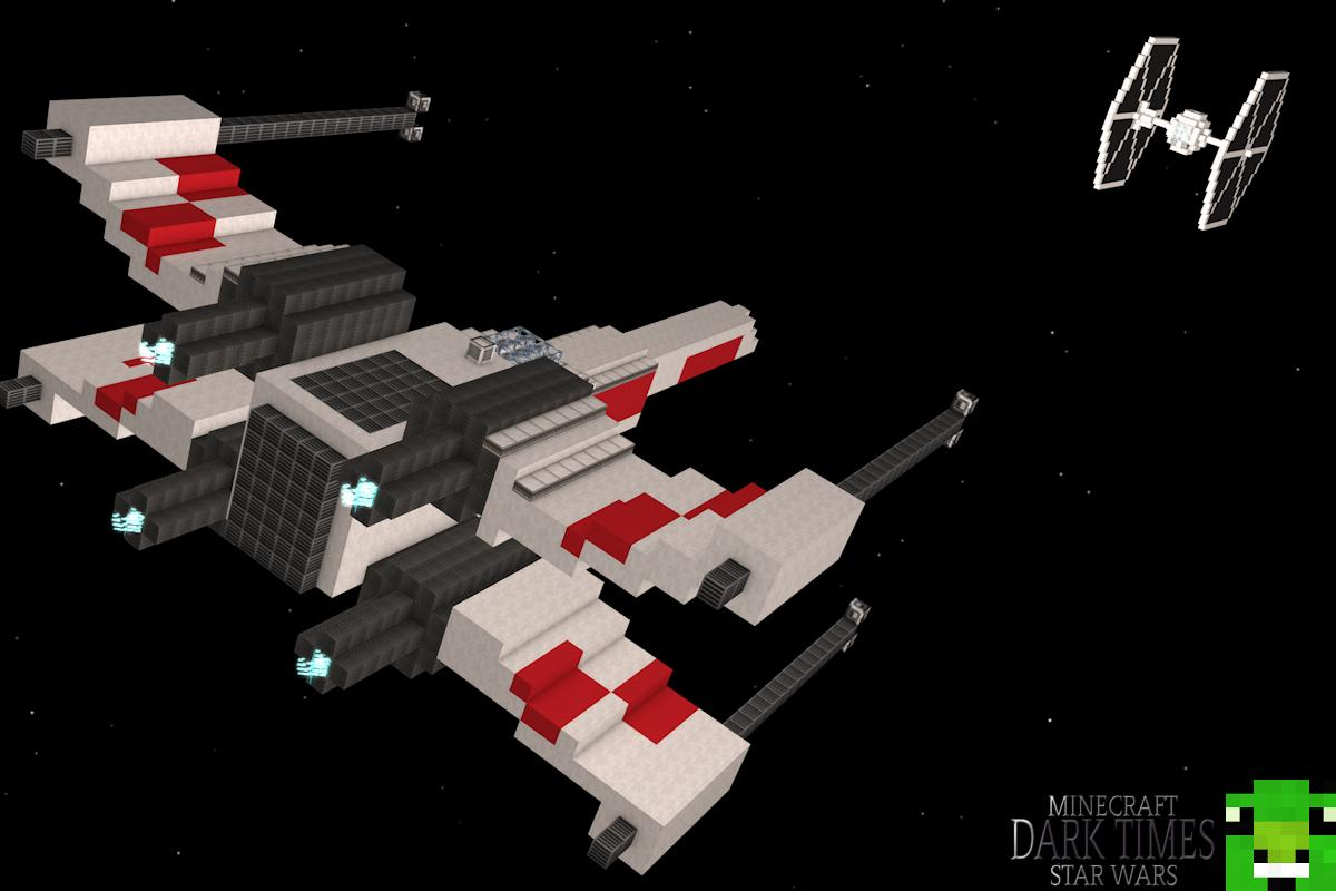 Minecraft Tutorial [Star Wars Edition]: X-Wing Fighter - YouTube