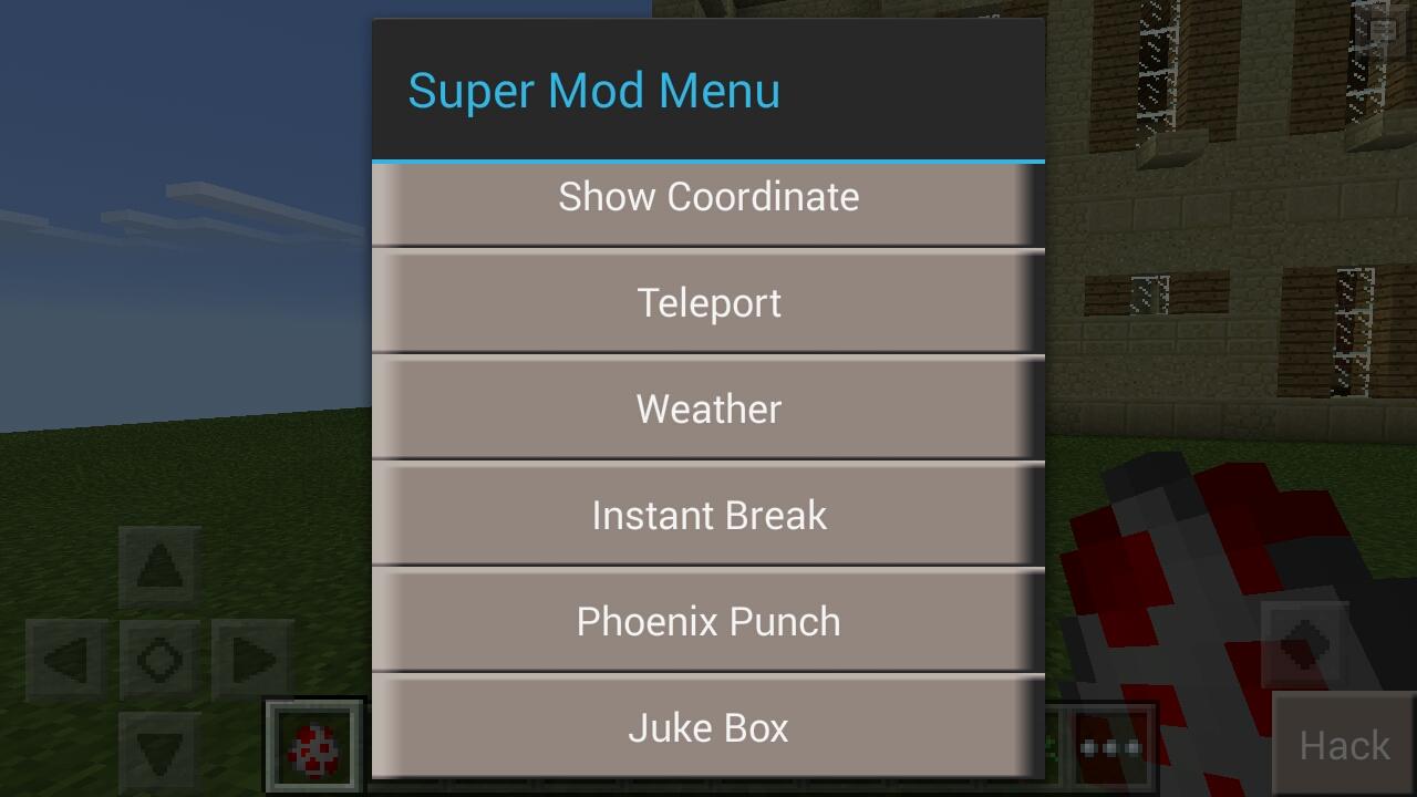mod menu for minecraft pe