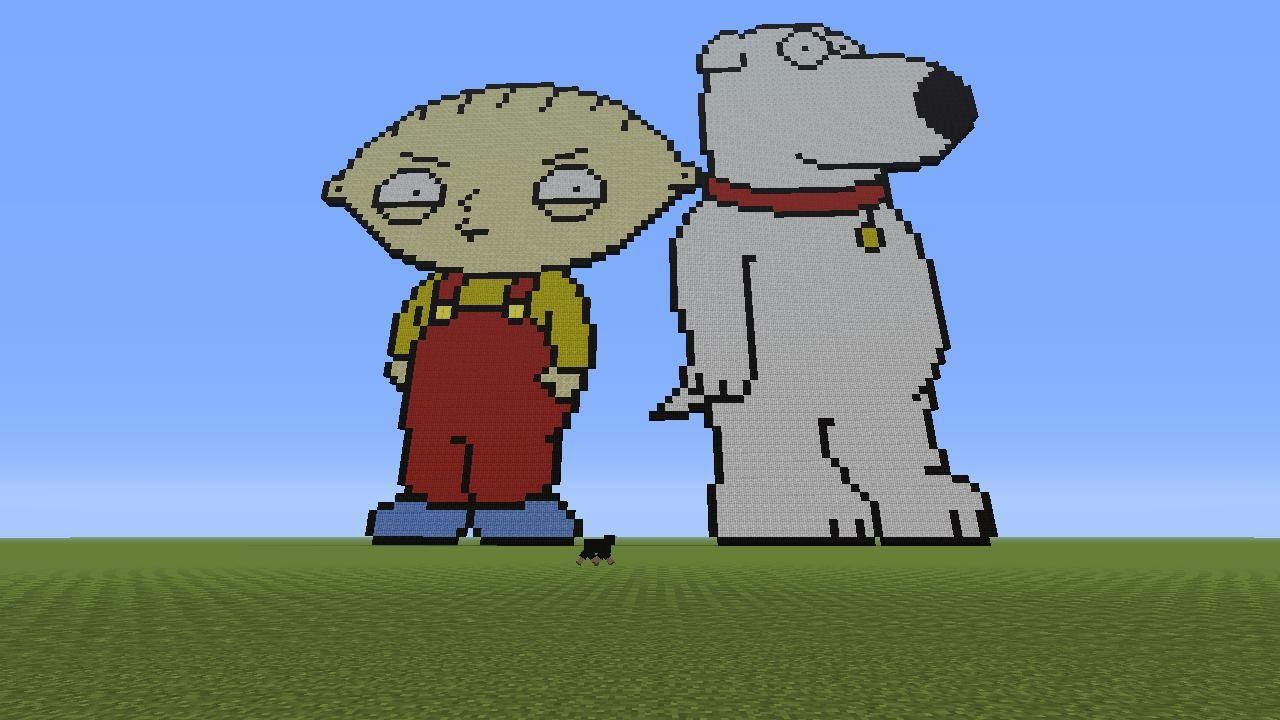 Stewie Brian Pixel Art Creative Mode Minecraft Java Edition