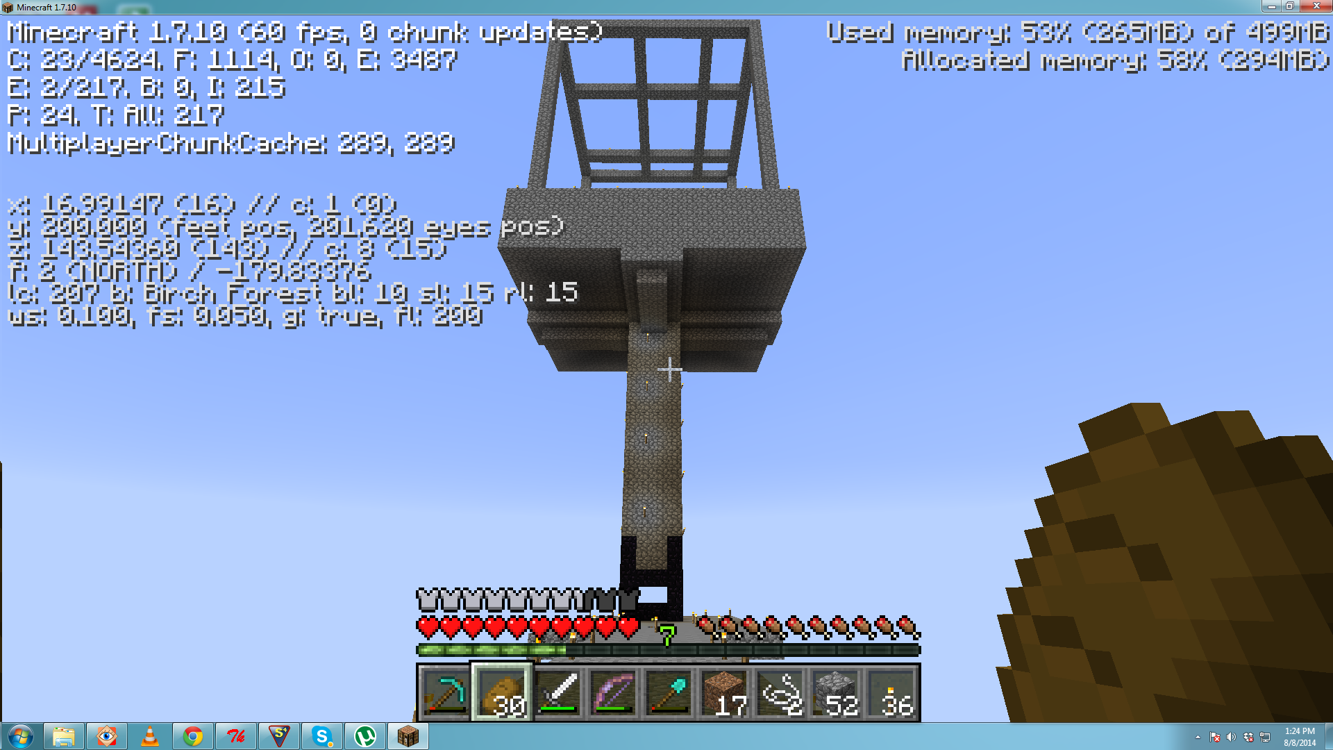 troubles with an elevated xp farm survival mode minecraft java