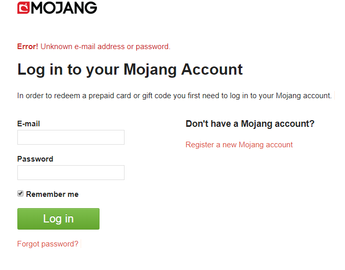 mojang error unknown email or password