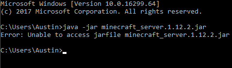 CMD unable to access jarfile - Server Support and Administration