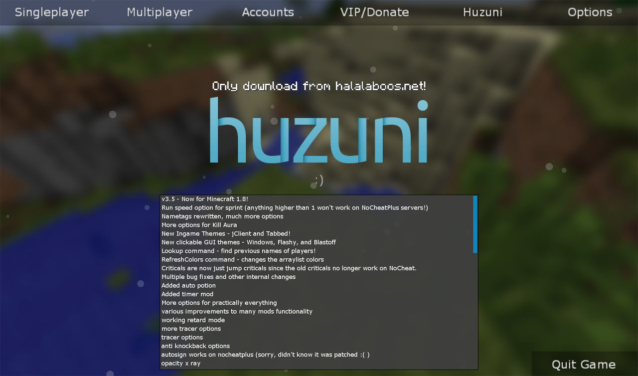 Скачать чит huzuni хузуни [1. 11. 2] [1. 10. 2] [1. 8] [1. 7. 10] [1. 5.
