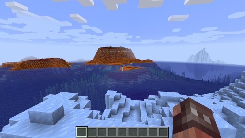 Icebergs off the coast of a Mesa biome?